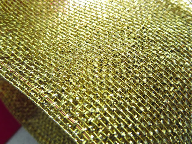Gold and green mesh wire ribbon