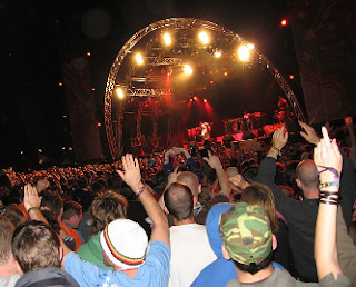 Picture of the crowd at the stage one night at Electric Picnic music festival in 2006