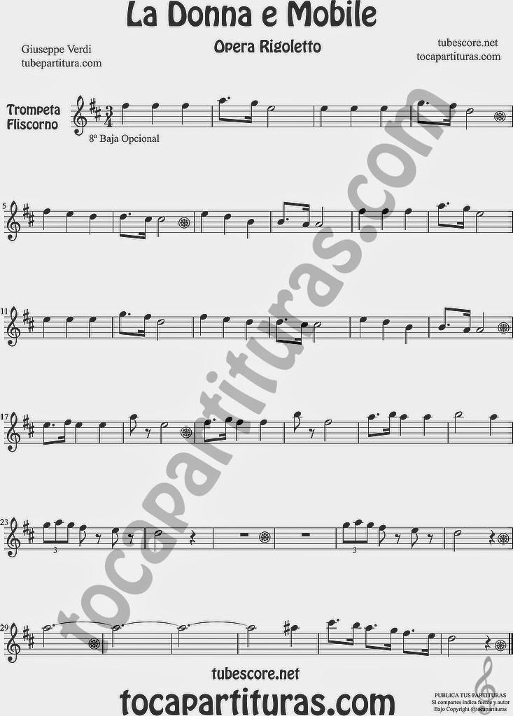 La Donna e Mobile Partitura de Trompeta y Fliscorno Sheet Music for Trumpet and Flugelhorn Music Scores Ópera Rigoleto by G. Verdi