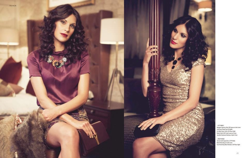 Glamorous winter fashion shoot for Trend Magazine. Model has curly party hair and glam makeup