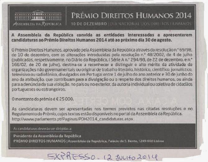 EM DESTAQUE |Prémio Direitos Humanos | Candidaturas até 30 Agosto 2014