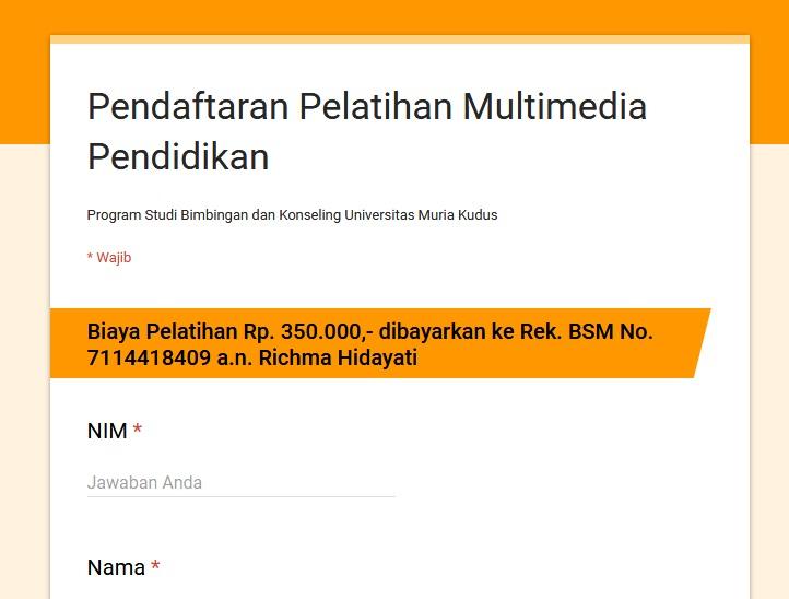 Pendaftaran Pelatihan Multimedia