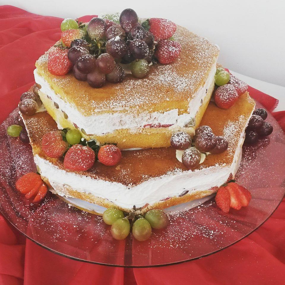 naked cake sextavado