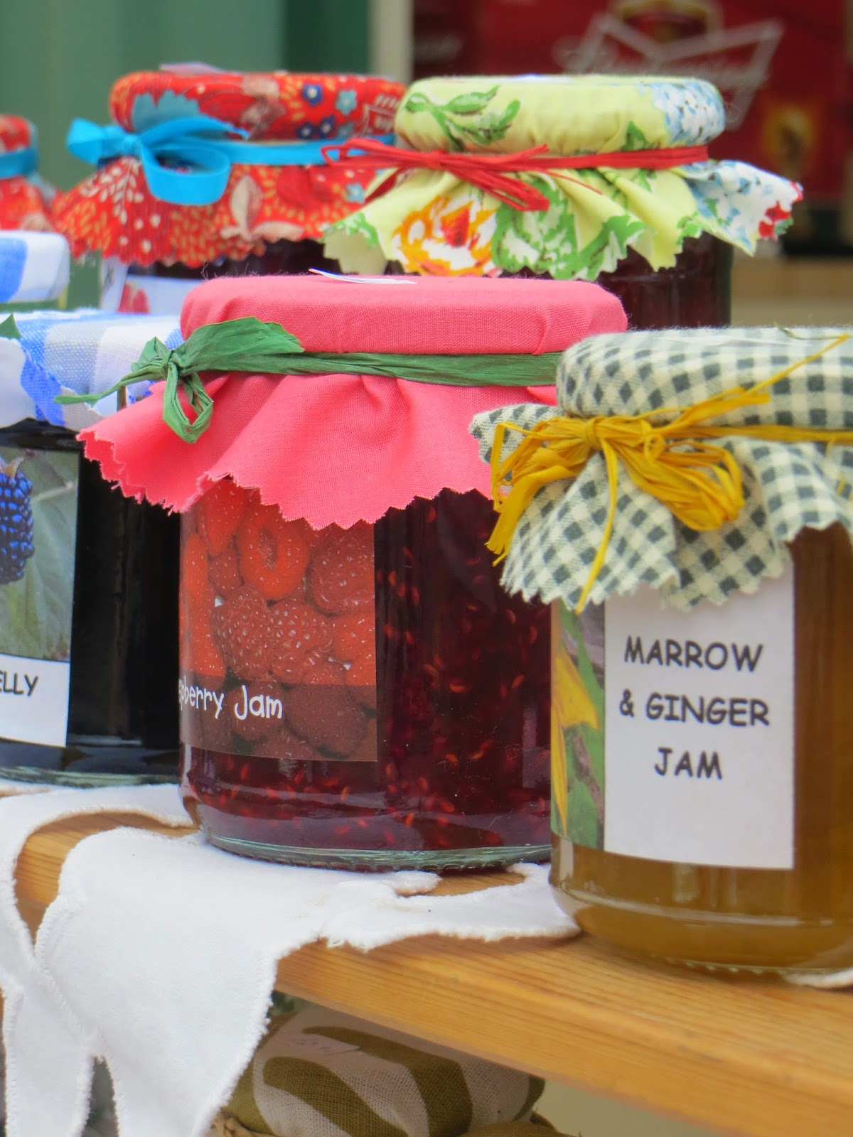 a selection of jams were available to buy from an allotment holder