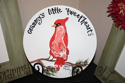 Grammy's Little 'Tweet'heart Footprint Plate Keepsake
