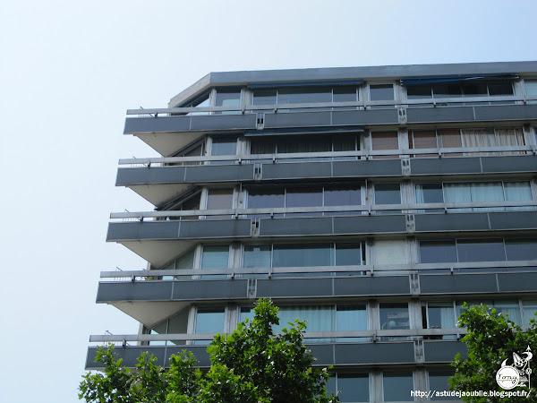 Paris 15ème - Immeuble et mosaïque - Avenue du Maine  Architecte: Claude Parent  Mosaïque: André Bloc, réalisée par Maximilien Herzele.  Construction: 1962-1963