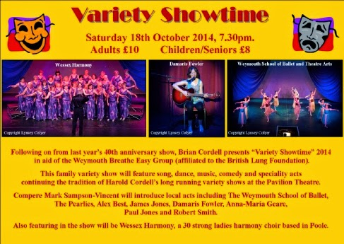 Variety Showtime back at Weymouth Pavilion Saturday 18th October 2014