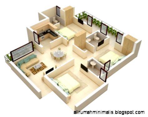 Contoh denah 3D rumah 3 kamar