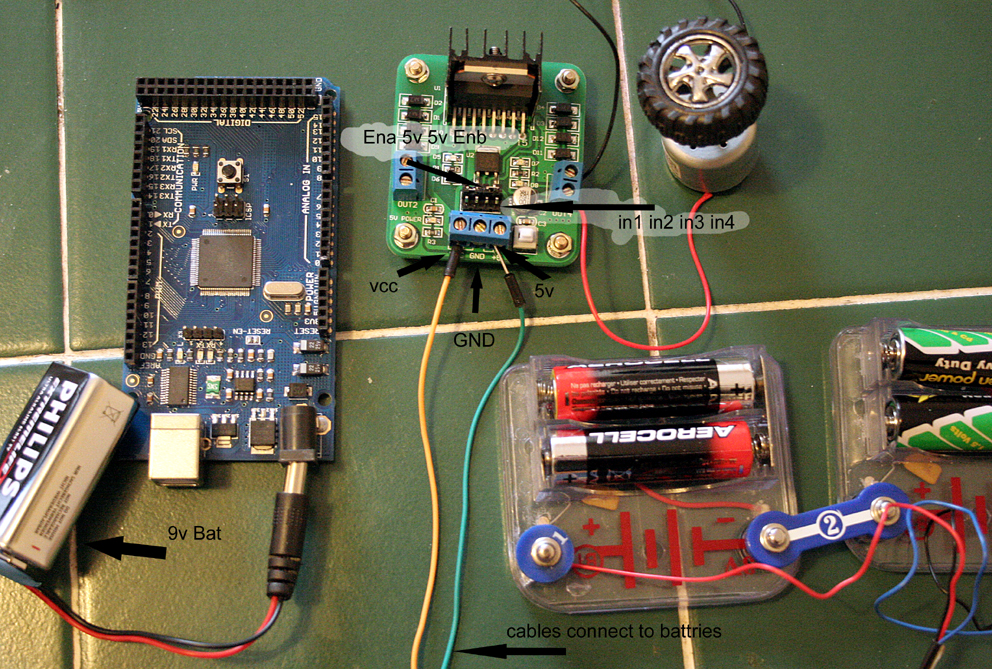 arduino and motor board