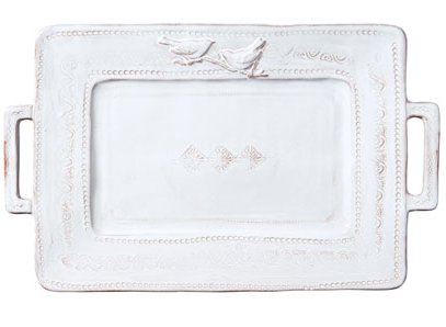 Vietri Bellazza white handled rectangular platter