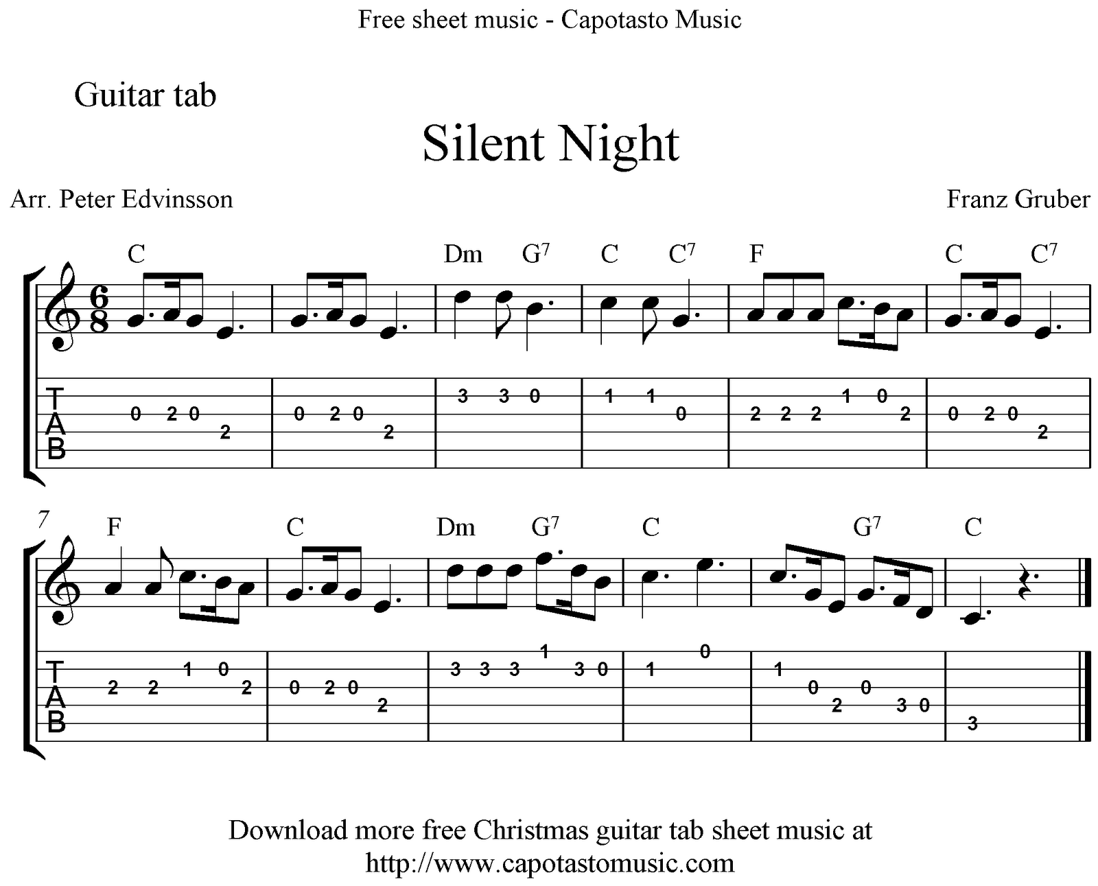 Silent Night, easy free Christmas guitar tab sheet music