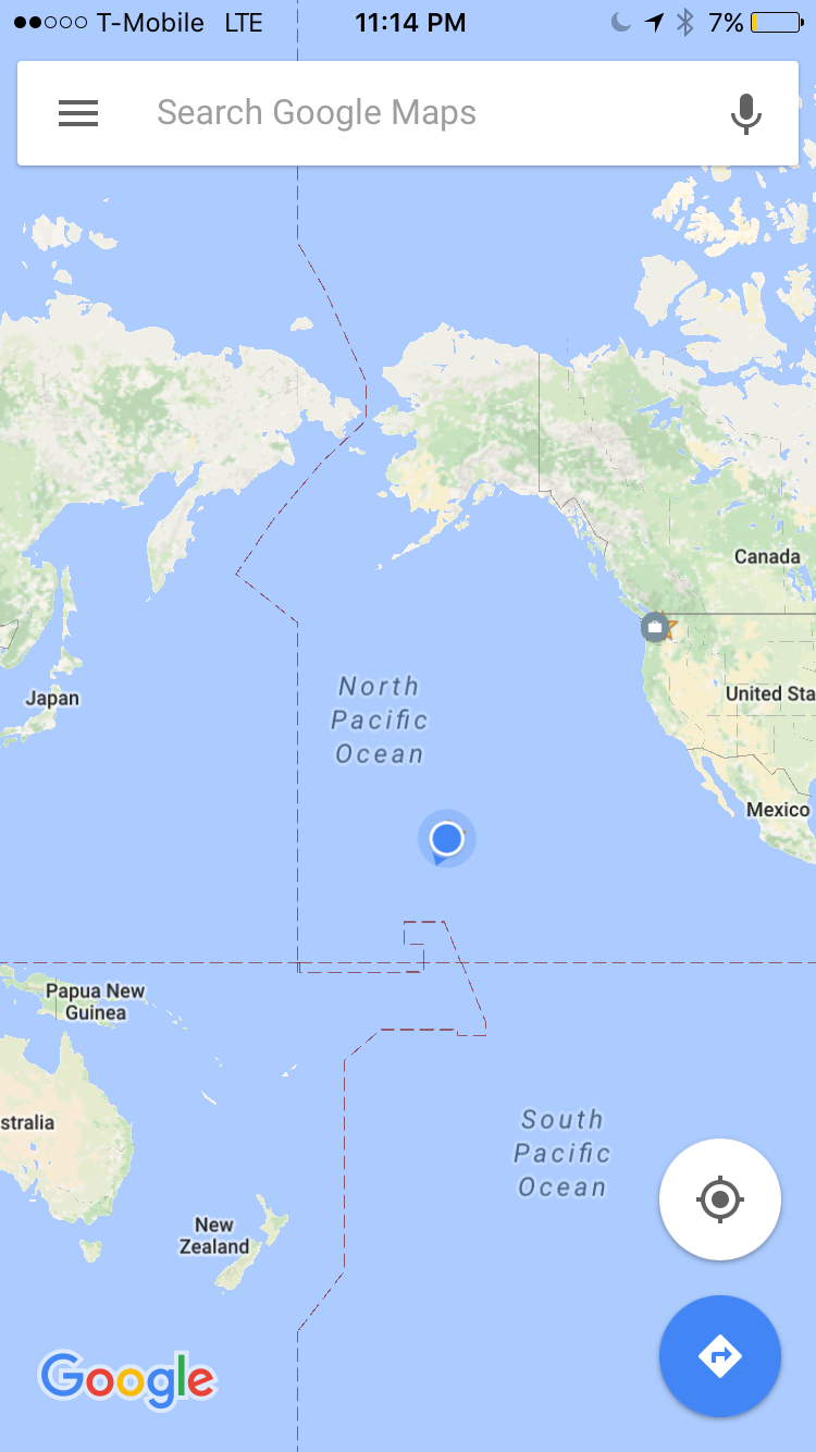 notice that little blue dot to your right on the map is the hawaiian islands