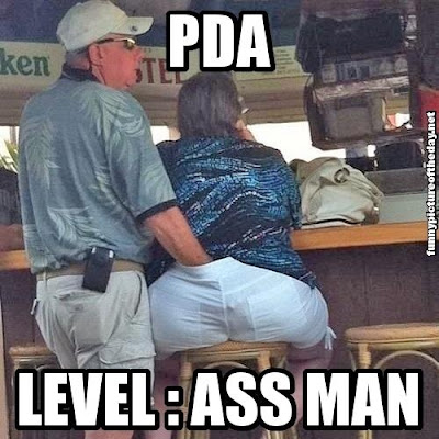 PDA Level Butt Man Meme Funny Guys Hand On Bigger Ladies Butt At Island Bar