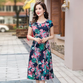 New 2018 23-Design Plus Size Drawstring Waist Smooth Cotton Dress