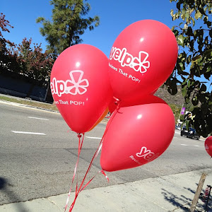 Yelp Balloons lined Eagle Rock Blvd.