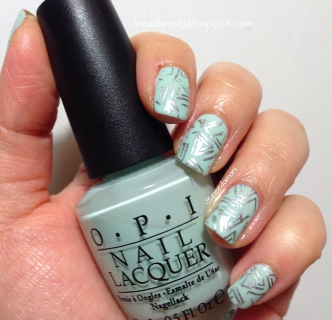 opi gargantuan green grapes sally hansen insta dri silver sweep abstract triangles nail stamping nails