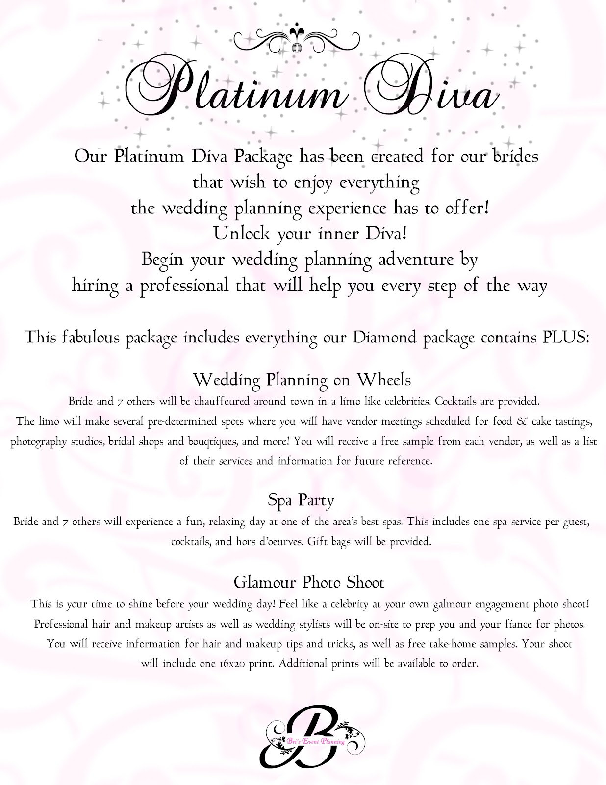 bri s event planning our wedding packages