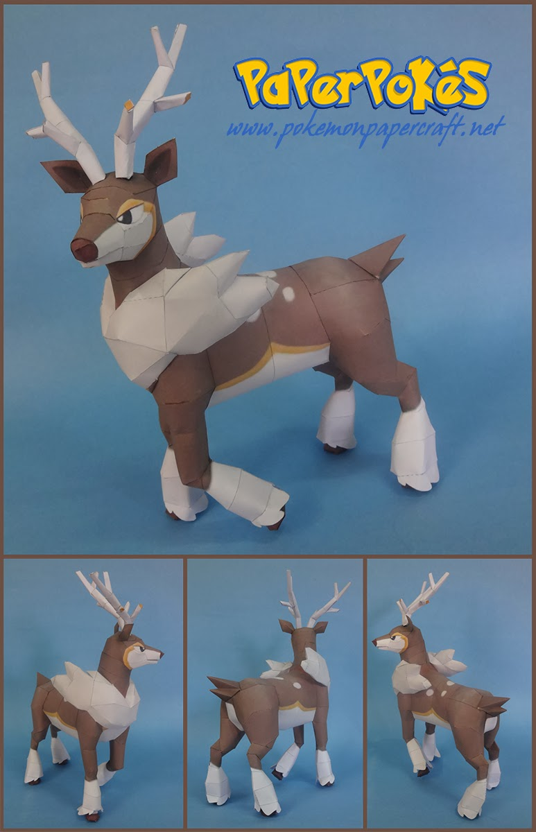 Pokemon Sawsbuck Paper Model