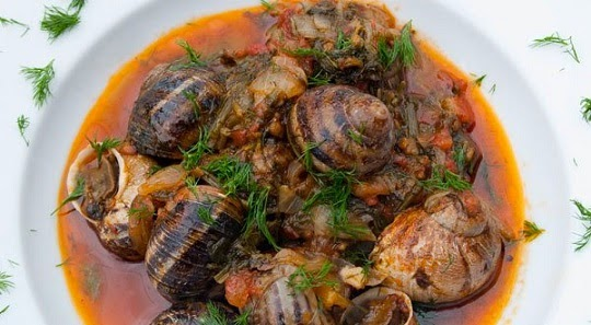 Snails in tomato sauce, Mediterranean Diet, The Cretan Diet,