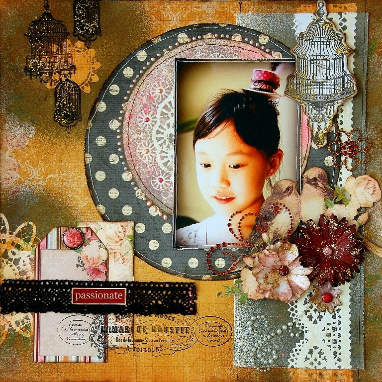Passionate Scrapbook Page by Irene Tan Using BoBunny Madeleine Collection