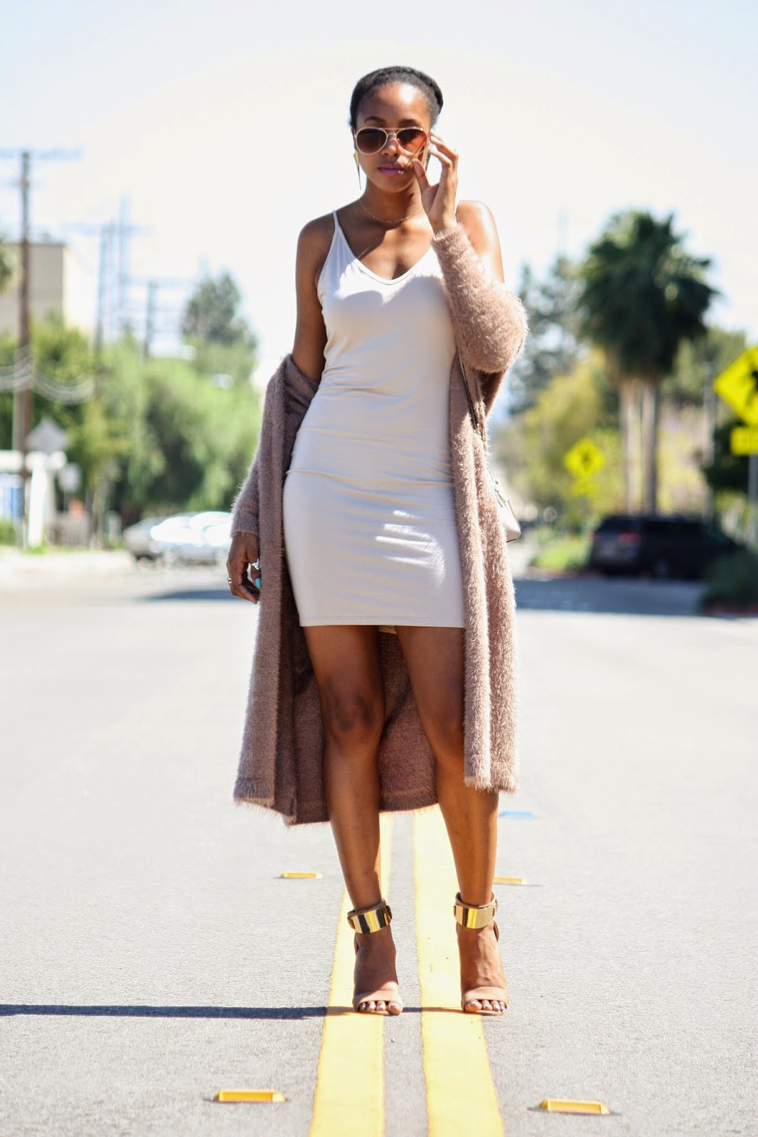 Twisted Nude outfit details Foreign Exchange dress and cardigan Aldo heeled sandals
