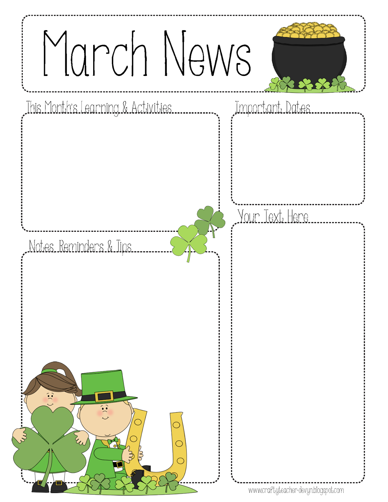 the crafty teacher march newsletter. Black Bedroom Furniture Sets. Home Design Ideas