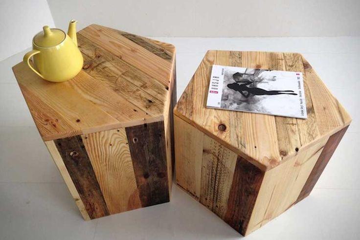 Banqueta pentagono de madeira pallet