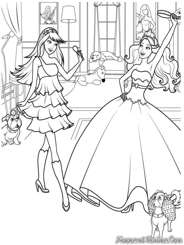 Mewarnai Gambar Barbie And 12 Dancing