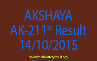 AKSHAYA AK 211 Lottery Result 14-10-2015
