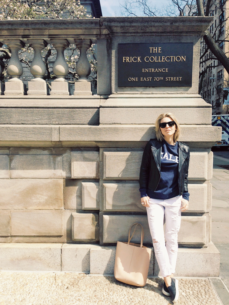 The Frick Collection NYC New York City, Fifth Avenue, what I wore, ASOS quilted leatehr bomber jacket, distressed white boyfriend denim, skater slip-on sneakers, Sandro ANACONDAS, Kale sweatshirt by Suburban Riot