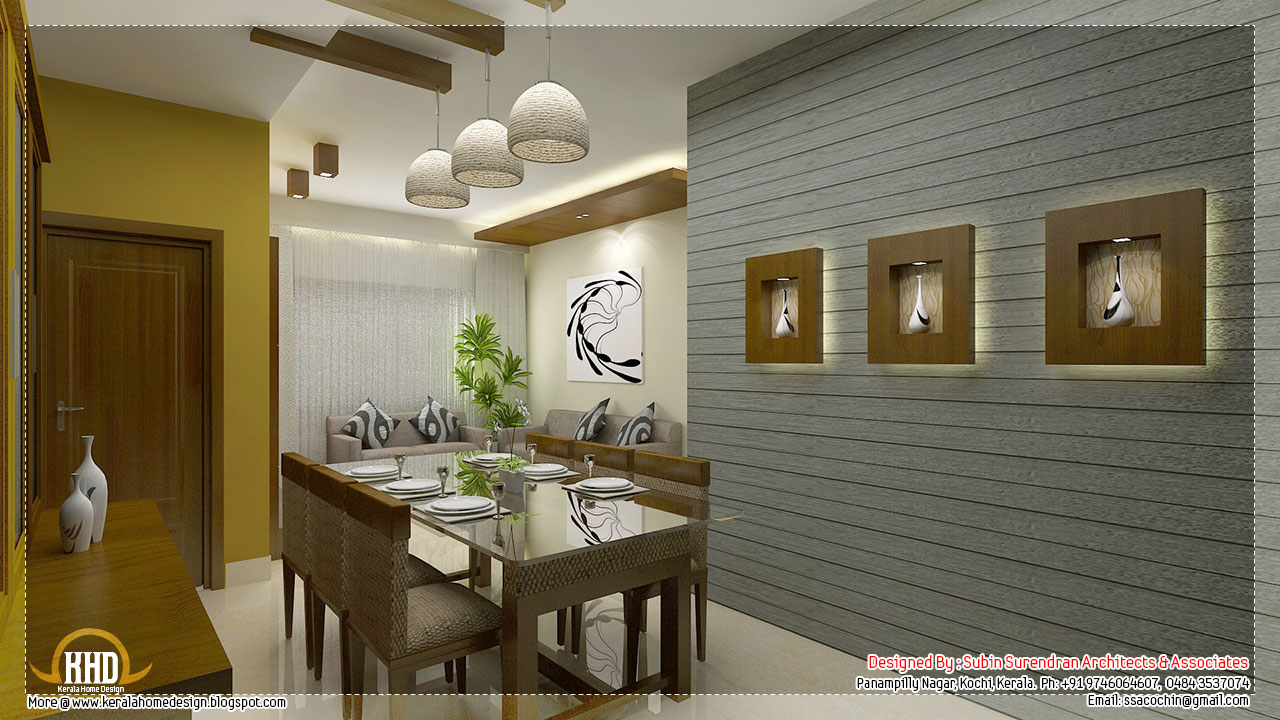 Beautiful interior design ideas kerala home design and for Interior design for hall and dining room