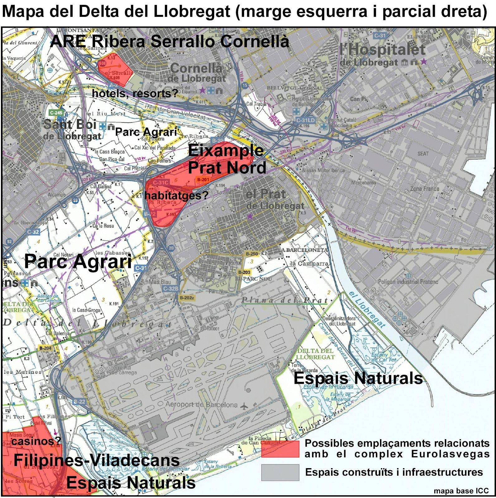 Delta Del Llobregat Mapa el Delta Del Llobregat i Els