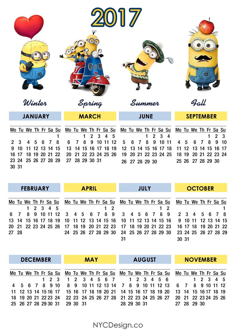 790 x 1120 png 287kB, Printable 2017 Calendar - Calendar 2017 Minions ...