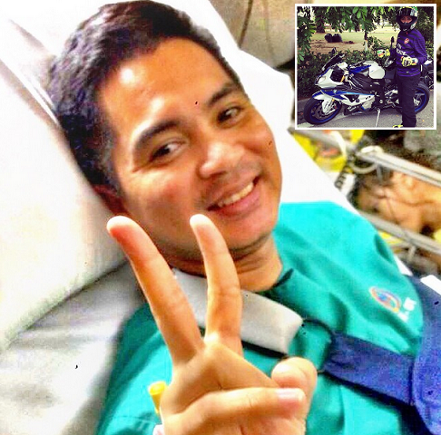 5 Gambar terkini Adi Fashla kemalangan Seperbike BMW HP4