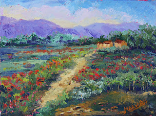 Poppy Meadow oil painting by Marion Hedger