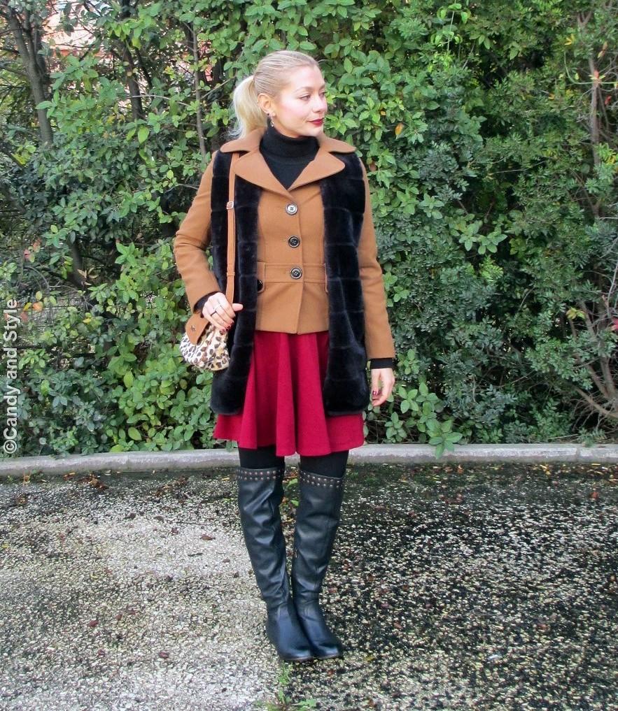 Faux Fur - Burgundy - Overknees