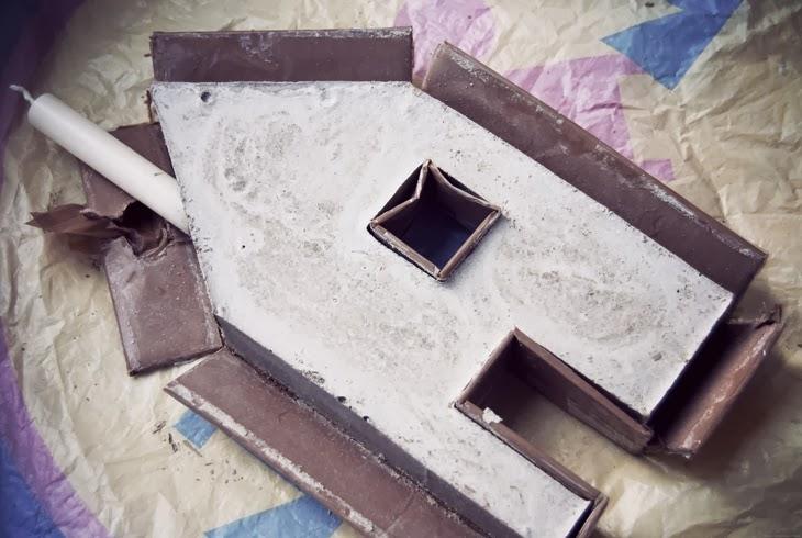 diy little candleholder houses concrete rotkehlchen bloglovin. Black Bedroom Furniture Sets. Home Design Ideas