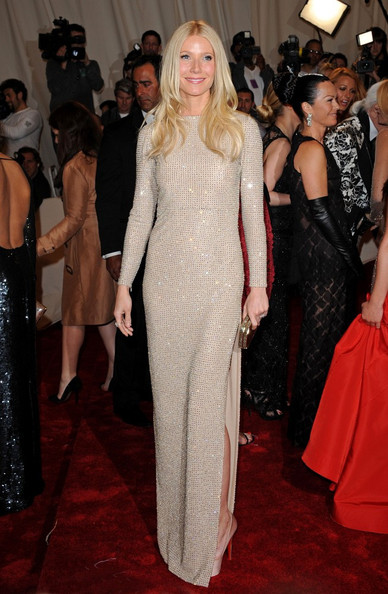 "Gwyneth Paltrow in a figure-hugging, nude crystal embroidery Stella McCartney gown with a thigh-high sexy slit and cutout back at the ""Alexander McQueen: Savage Beauty"" Costume Institute Gala held at The Metropolitan Museum of Art on May 2, 2011 in New York City."