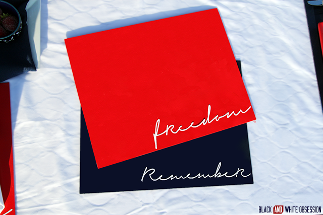 Red, White, and Blue Patriotic Placemats: Freedom & Remember | www.blackandwhiteobsession.com
