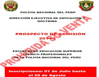 Resultados ETS PNP 2014 Admisión a las Escuelas de Educacion Superior Técnico Profesionales de la PNP 3, 4 y 5 de Octubre