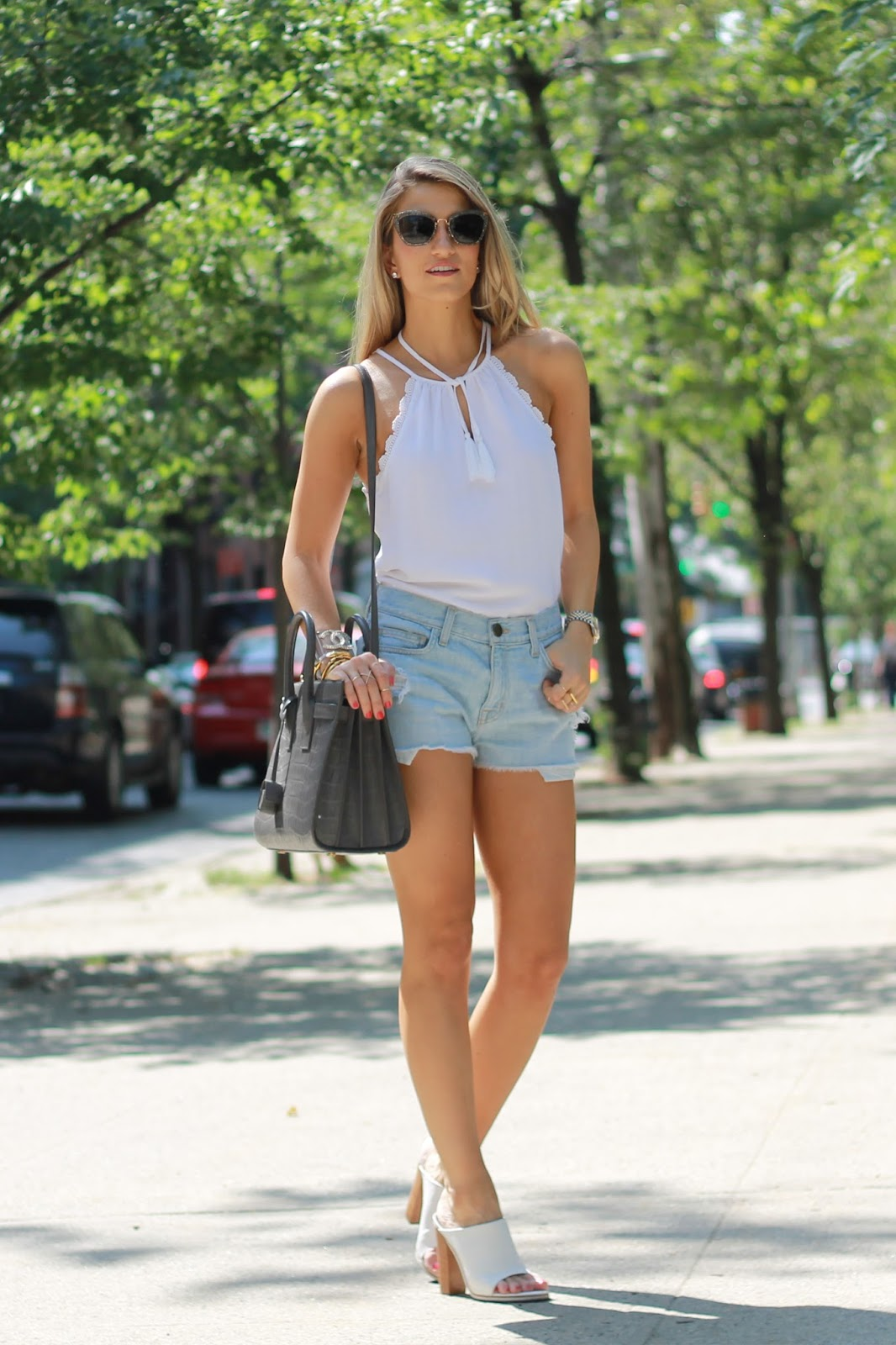 white leather mules, denim cut offs, denim baggy shorts
