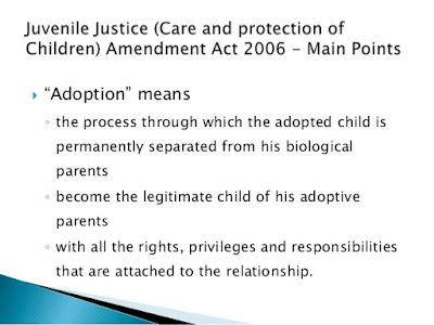 summary of child adoption law & guideline