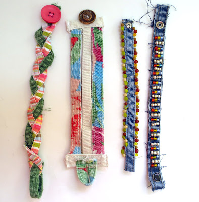 bracelets made out of repurposed denim pant inseams