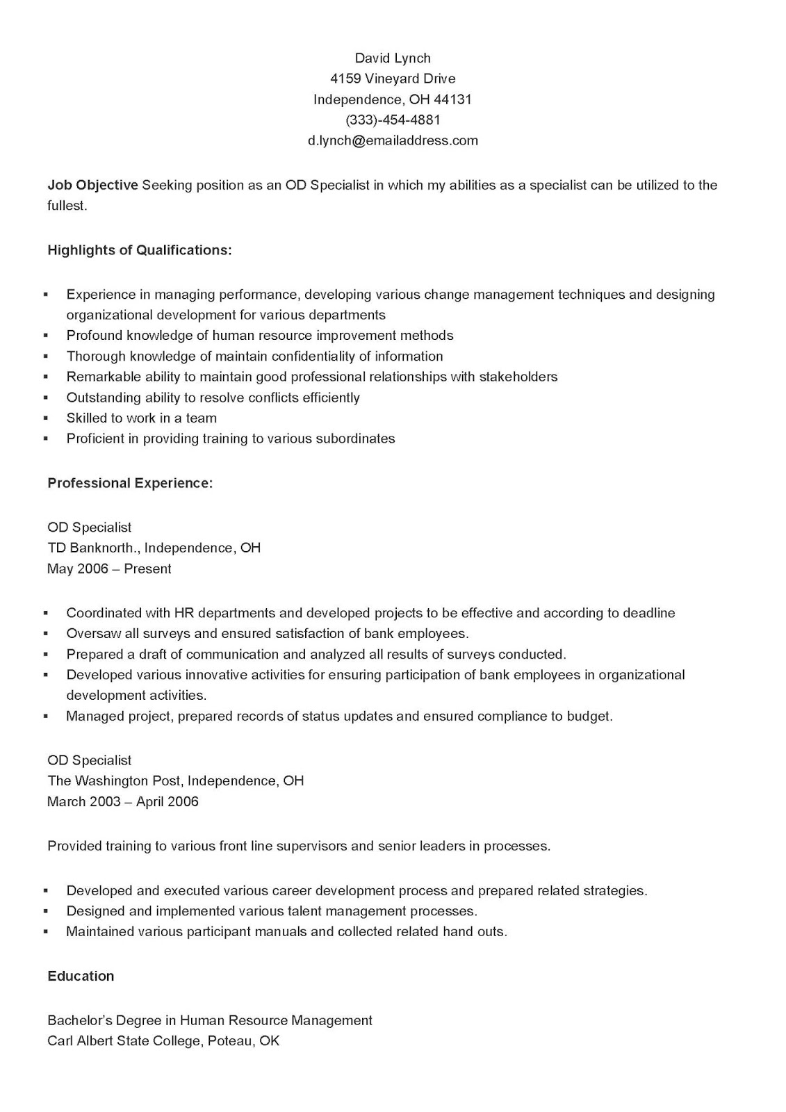 Resume Samples Sample OD Specialist Resume