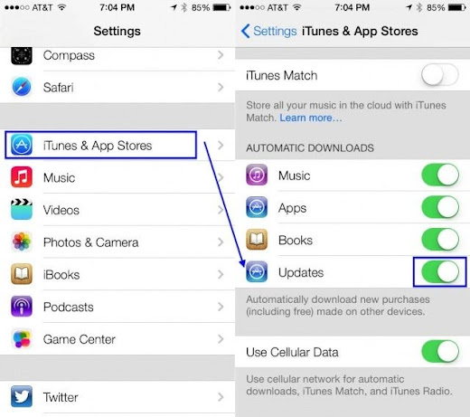 turn off automatic app updates iOS 7