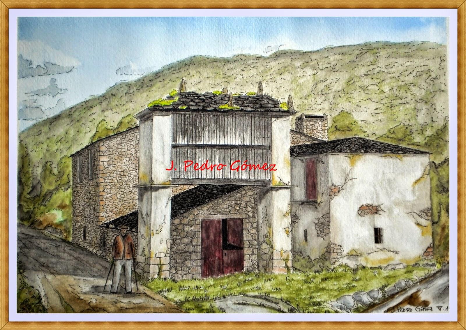 casa rural, viloalle, mondoñedo, lugo, plumilla, acuarela, tecnica mixta, dibujo, pintura, color,