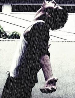 Alone boy in rain love