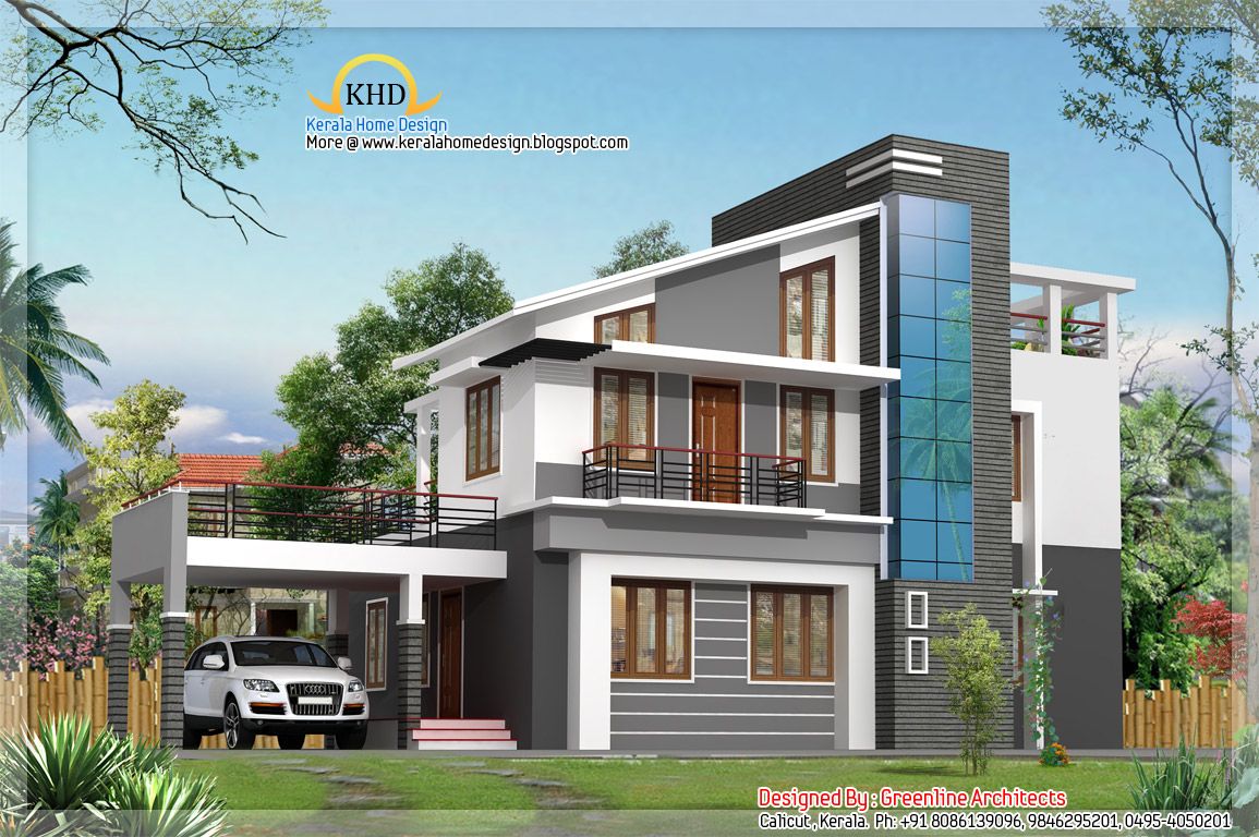 Modern villa elevations homedesignpictures for Kerala home designs contemporary