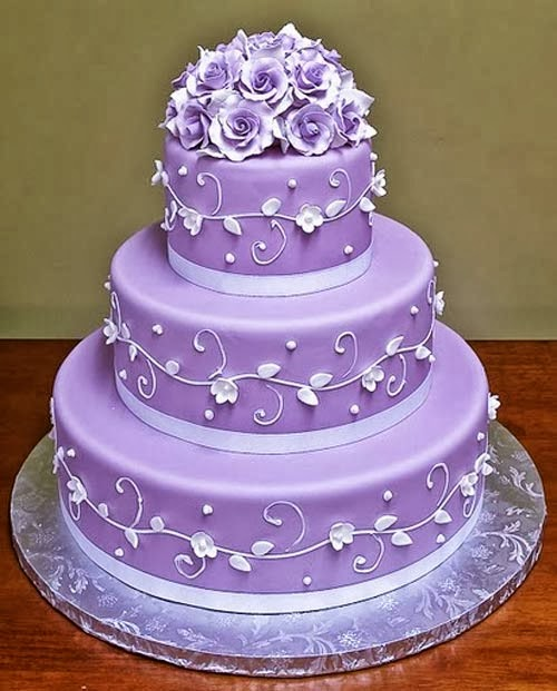 Purple Colour Cake Images : Beautiful Bridal: Purple and White Wedding Cakes