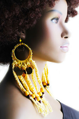 large yellow crochet yarn hoop earrings